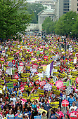 """General view down Pennsylvania Avenue towards the United States Treasury Building during the """"March for Women's Lives"""" in Washington, DC on April 25, 2004..Credit: Ron Sachs / CNP"""