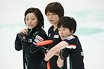 (L to R) Ayumi Ogasawara, Kaho Onodera, Michiko Tomabechi (Fortius), SEPTEMBER 16, 2013 - Curling : Olympic qualifying Japan Curling Championships Women's Final third Mach between Fortius 11-6 Chuden at Dogin Curling Studium, Sapporo, Hokkaido, Japan. (Photo by Yusuke Nakanishi/AFLO SPORT)