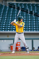 AZL Athletics center fielder Austin Beck (38) bats during a game against the AZL Cubs on August 9, 2017 at Sloan Park in Mesa, Arizona. AZL Athletics defeated the AZL Cubs 7-2. (Zachary Lucy/Four Seam Images)