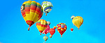 HOT AIR BALLOONS AFLOAT at the annual ALBUQUERQUE INTERNATIONAL BALLOON FIESTA, PANORAMA<br />