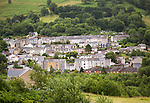 Terraced housing on hillside, at Six Bells, Abertillerry, Blaenau Gwent, South Wales, UK