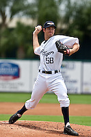 Luke Putkonen (58) of the Lakeland Flying Tigers during a game vs. the Ft. Myers Miracle June 6 2010 at Joker Marchant Stadium in Lakeland, Florida. Ft. Myers won the game against Lakeland by the score of 2-0.  Photo By Scott Jontes/Four Seam Images