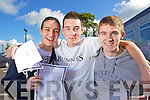 Students from Mercy Mounthawk Secondary School Tralee after receiving their Leaving Certificate results on Wednesday from left are Sven Rosery, Emmet Delaney and James Daly all from Tralee.