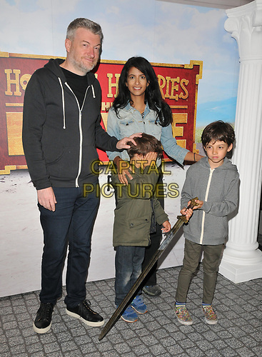 """Charlton """"Charlie"""" Brooker, Konnie Huq, Huxley Brooker Huq, Covey Brooker Huq at the """"Horrible Histories: The Movie - Rotten Romans"""" world film premiere, Odeon Luxe Leicester Square, Leicester Square, London, England, UK, on Sunday 07th July 2019.<br /> CAP/CAN<br /> ©CAN/Capital Pictures"""