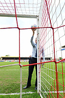 Referee Ben Toner tests out the goal-line technology prior to the game<br /> <br /> Photographer Chris Vaughan/CameraSport<br /> <br /> The EFL Sky Bet League Two Play Off First Leg - Lincoln City v Exeter City - Saturday 12th May 2018 - Sincil Bank - Lincoln<br /> <br /> World Copyright &copy; 2018 CameraSport. All rights reserved. 43 Linden Ave. Countesthorpe. Leicester. England. LE8 5PG - Tel: +44 (0) 116 277 4147 - admin@camerasport.com - www.camerasport.com