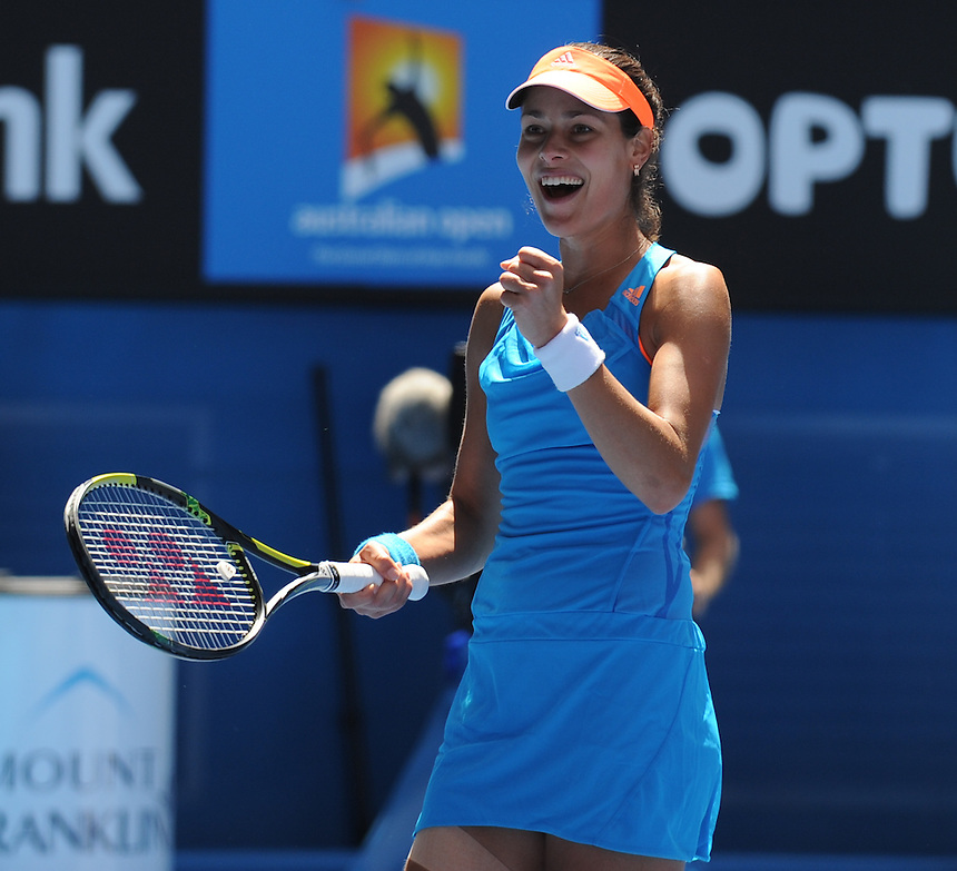 Ana Ivanovic (SRB) [14] celebrates her victory over Serena Williams (USA) [1] in their Women's Singles Fourth Round match today - Ana Ivanovic (SRB) [14] def Serena Williams (USA) [1] 4-6 6-3 6-3<br /> <br /> Photo by Gillian Elliott/CameraSport<br /> <br /> International Tennis - Australian Open - Day 7 Sunday 19th January 2014 - Melbourne Park - Melbourne, Victoria, Australia<br /> <br /> &copy; CameraSport - 43 Linden Ave. Countesthorpe. Leicester. England. LE8 5PG - Tel: +44 (0) 116 277 4147 - admin@camerasport.com - www.camerasport.com