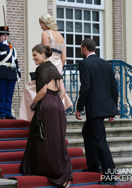Crown Prince Haakon, and Crown Princess Mette-Marit of Norway, and Crown Princess Victoria of Sweden ,arrive for a Reception at Het Loo Palace in Apeldoorn, to celebrate the 40th Birthday of Crown Prince Willem Alexander, The Prince turned forty in April earlier this year.