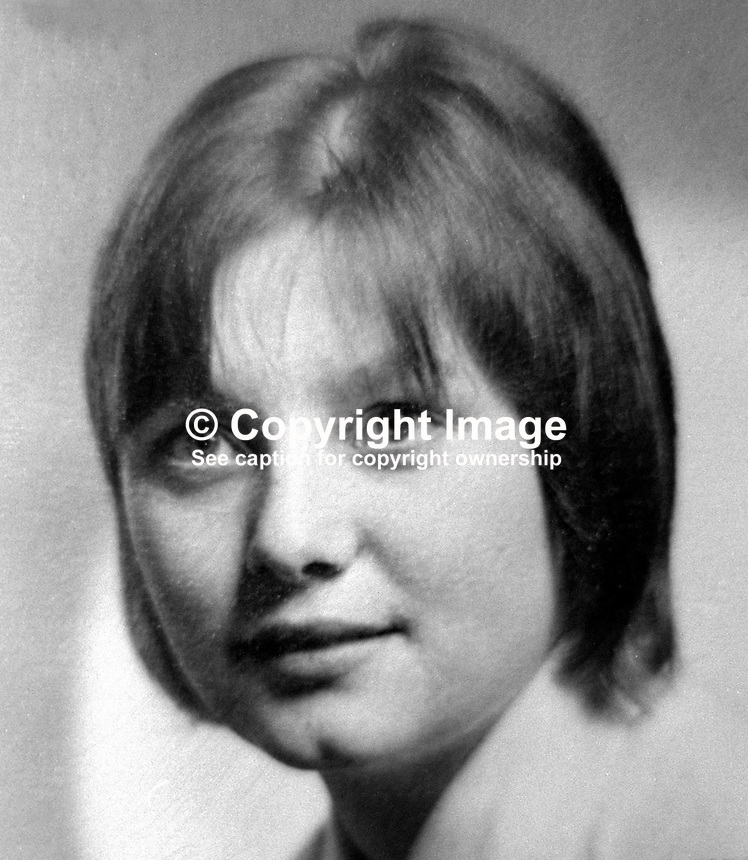 Doris McGrath, Protestant, 23 years, North Belfast, N Ireland, married with a young son, name not known. She died whilst visiting Roman Catholic neighbours who were the target of a UFF/UDA sectarian gun attack. A daughter of the Roman Catholic family who survived the attack was able to pick out one of the gunmen and he and an accomplice, both from the Shankill Road, were given life sentences. 197602260119a<br />