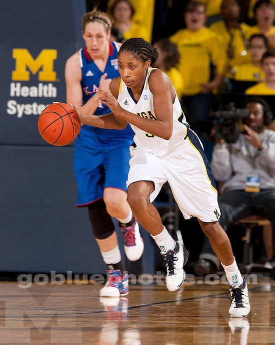 University of Michigan women's basketball 75-67 victory over previously unbeaten Kansas at Crisler Arena in Ann Arbor, MI, on December 9, 2010.