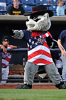 "Quad Cities River Bandits mascot ""Rascal"" performs prior to the game against the Clinton LumberKings at Modern Woodmen Park on June 14, 2018 in Davenport, Iowa. The River Bandits won 5-2.  (Dennis Hubbard/Four Seam Images)"