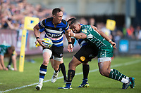 James Wilson of Bath Rugby takes on the London Irish defence. Aviva Premiership match, between Bath Rugby and London Irish on May 5, 2018 at the Recreation Ground in Bath, England. Photo by: Patrick Khachfe / Onside Images