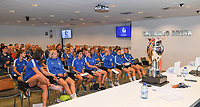 20190819 – GENT, BELGIUM : illustration picture shows the players , staff and press during a pre-season press conference presenting the new players  , new staff and new methods for the next season 2019-2020 for the AA Gent Ladies in the Belgian top division – The Superleague -  , Monday 19 th August 2019 at the Ghelamco Stadium in GENT  , Belgium  .  PHOTO SPORTPIX.BE | DAVID CATRY