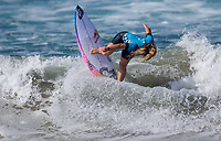 Huntington Beach, CA - Saturday August 4, 2018: Caroline Marks in action during a World Surf League (WSL) World Championship Tour (WCT) Round 3 heat at the 2018 Vans U.S. Open of Surfing on South side of the Huntington Beach pier.