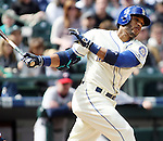 Seattle Mariners'  Robinson Cano bats against the Minnesota Twins April 26, 2015 at Safeco Field in Seattle.  The Twins beat the Mariners beat the Angels 4--2. ©2015. Jim Bryant photo. All RIGHTS RESERVED.
