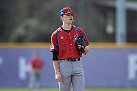 NJIT Highlanders starting pitcher Johnny Malatesta (20) looks to his catcher for the sign against the High Point Panthers at Williard Stadium on February 18, 2017 in High Point, North Carolina. The Panthers defeated the Highlanders 11-0 in game one of a double-header. (Brian Westerholt/Four Seam Images)