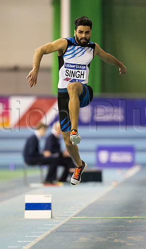 27.02.2016. EIS Sheffield, Sheffield, England. British Indoor Athletics Championships Day One. Arpindor Singh (India) competing in the Men's Triple Jump Final.