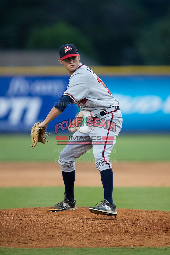 Danville Braves relief pitcher Taylor Lewis (15) in action against the Burlington Royals at Burlington Athletic Park on July 12, 2015 in Burlington, North Carolina.  The Royals defeated the Braves 9-3. (Brian Westerholt/Four Seam Images)