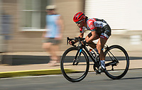 NWA Democrat-Gazette/BEN GOFF @NWABENGOFF<br /> Daniely Garcia leads the women's Pro category 1/2/3 race Saturday, July 7, 2018, during The Natural State Criterium Series in downtown Rogers. Garcia won the event. The third annual series produced by BikeNWA began with races in downtown Bentonville Friday evening. The series concludes Sunday in downtown Springdale with the first event starting at 8:50 a.m. and the final event starting at 4:00 p.m. A criterium is a type of bicycle race where riders lap a short, closed circuit on downtown city streets.