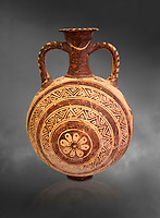 Minoan decorated flask with concentric decorative bands design , Konssos  Temple Tomb 1400-1250 BC; Heraklion Archaeological Museum, grey background