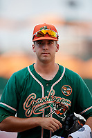 Greensboro Grasshoppers pitcher Michael Mertz (25) walks to the dugout after a game against the Lakewood BlueClaws on June 10, 2018 at First National Bank Field in Greensboro, North Carolina.  Lakewood defeated Greensboro 2-0.  (Mike Janes/Four Seam Images)