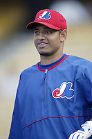 Orlando Cabrera of the Montreal Expos before a 2002 MLB season game  against the Los Angeles Dodgers at Dodger Stadium, in Los Angeles, California. (Larry Goren/Four Seam Images)