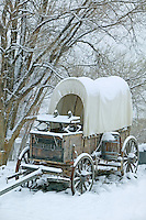 Covered wagon in snow. Farewell Bend State Park, Oregon