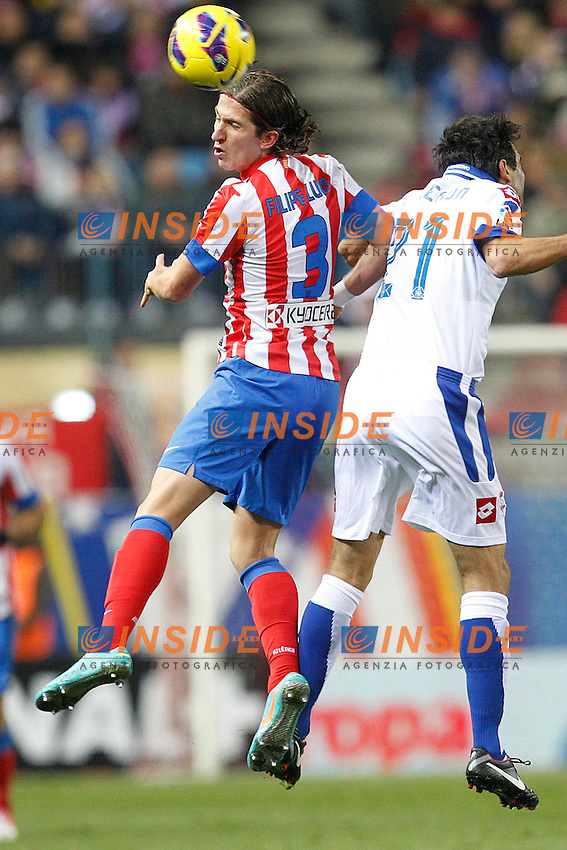 Atletico de Madrid's Filipe Luis and Deportivo la Coruna's Valeron during la Liga match on december 9th 2012...Photo: Cesar Cebolla / ALFAQUI .Football Calcio 2012/2013.La Liga Spagna.Foto Alterphotos / Insidefoto .ITALY ONLY