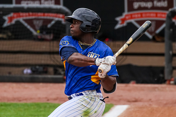 Wisconsin Timber Rattlers outfielder Demi Orimoloye (6) during a Midwest League game against the Kane County Cougars on June 11, 2017 at Fox Cities Stadium in Appleton, Wisconsin.  Kane County defeated Wisconsin 6-4. (Brad Krause/Krause Sports Photography)