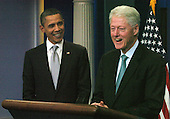 United States President Barack Obama and former US President William Clinton meet reporters in the White House Press Room in Washington, DC Friday 10 December 2010. Clinton endorsed the tax compromise Obama made with Republican congressional leaders..Credit: Bill Auth / Pool via CNP
