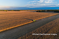 63801-12820 Harvesting corn in fall-aerial  Marion Co. IL