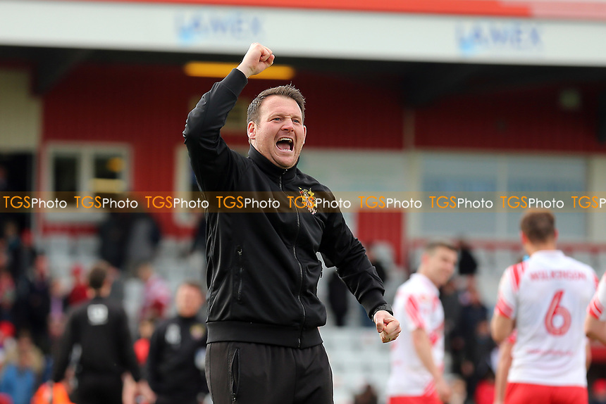 Stevenage manager Darren Sarll celebrates victory during Stevenage vs Barnet, Sky Bet EFL League 2 Football at the Lamex Stadium on 1st April 2017