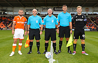 Todays match Officials with Blackpool's Captain Jay Spearing and Bradford City's Captain Josh Wright<br /> <br /> Photographer Rachel Holborn/CameraSport<br /> <br /> The EFL Sky Bet League One - Blackpool v Bradford City - Saturday September 8th 2018 - Bloomfield Road - Blackpool<br /> <br /> World Copyright &copy; 2018 CameraSport. All rights reserved. 43 Linden Ave. Countesthorpe. Leicester. England. LE8 5PG - Tel: +44 (0) 116 277 4147 - admin@camerasport.com - www.camerasport.com