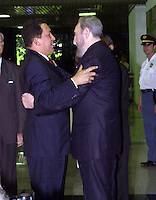 Photo File/ The Cuban President Fidel Castro (R), receives today September 01, 2003 to the Venezuela's President Hugo Chavez. Cuba is headquarters of U.N. Convention to combat desertification . Credit: Jorge Rey/MediaPunch