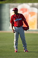 Lakewood BlueClaws starting pitcher Sixto Sanchez (23) warms up in the outfield prior to the game against the Kannapolis Intimidators at Kannapolis Intimidators Stadium on April 7, 2017 in Kannapolis, North Carolina.  The BlueClaws defeated the Intimidators 6-4.  (Brian Westerholt/Four Seam Images)