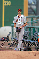 San Jose Giants starting pitcher Tyler Beede in the bullpen prior to the game between the San Jose Giants and the Inland Empire 66ers at San Manuel Stadium on April 5, 2018 in San Bernardino, California. (Donn Parris/Four Seam Images)