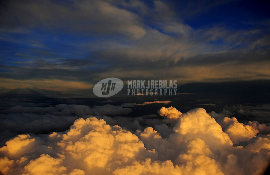 aerial photography clouds puffy sunset sky