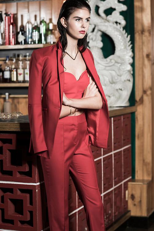 Fashion With Mirella, Red at Mr Kim's Model Ebony.   Pic:Nick Clayton