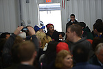 A protester as she is ejected inside the Synergy Flight Center to hear Republican front runner Donald Trump speak in Bloomington, Illinois on March 13, 2016.