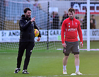 Lincoln City manager Danny Cowley, left and Lee Frecklington during the pre-match warm-up<br /> <br /> Photographer Andrew Vaughan/CameraSport<br /> <br /> The EFL Sky Bet League Two - Cambridge United v Lincoln City - Saturday 29th December 2018  - Abbey Stadium - Cambridge<br /> <br /> World Copyright © 2018 CameraSport. All rights reserved. 43 Linden Ave. Countesthorpe. Leicester. England. LE8 5PG - Tel: +44 (0) 116 277 4147 - admin@camerasport.com - www.camerasport.com