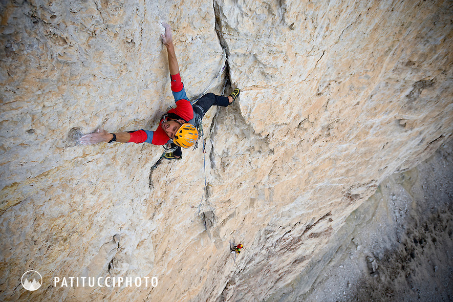 Kurt Astner climbing the route Jean-Couzy on the Tre Cime di Lavaredo. The route is rated 8a+