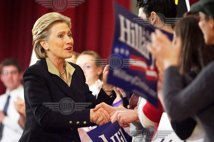 Hillary Clinton, Democrat candidate for President, greets supporters on stage at the start of a fundraiser at Hunter College, New York.