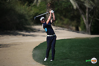 Brett Rumford (AUS) plays from the sand down the 3rd during the Final Round of the 2016 Omega Dubai Desert Classic, played on the Emirates Golf Club, Dubai, United Arab Emirates.  07/02/2016. Picture: Golffile | David Lloyd<br /> <br /> All photos usage must carry mandatory copyright credit (&copy; Golffile | David Lloyd)