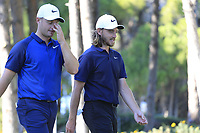 Tom Lewis and Tommy Fleetwood (ENG) walk off the 17th tee during Friday's Round 2 of the 2018 Turkish Airlines Open hosted by Regnum Carya Golf &amp; Spa Resort, Antalya, Turkey. 2nd November 2018.<br /> Picture: Eoin Clarke | Golffile<br /> <br /> <br /> All photos usage must carry mandatory copyright credit (&copy; Golffile | Eoin Clarke)