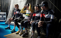 Heinrich Haussler (AUS/IAM) having some fun with the teammates backstage on the start podium<br /> <br /> 58th E3 Harelbeke 2015