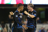 San Jose, CA - Saturday September 16, 2017: Danny Hoesen, Florian Jungwirth during a Major League Soccer (MLS) match between the San Jose Earthquakes and the Houston Dynamo at Avaya Stadium.