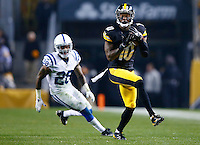 Martavis Bryant #10 of the Pittsburgh Steelers catches a pass in front of Greg Toler #28 of the Indianapolis Colts in the second half during the game at Heinz Field on December 6, 2015 in Pittsburgh, Pennsylvania. (Photo by Jared Wickerham/DKPittsburghSports)