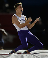NWA Democrat-Gazette/ANDY SHUPE<br /> LSU's Mondo Duplantis celebrates Saturday, May 11, 2019, after clearing a collegiate-record 19 feet, 8 1/4 inches in the pole vault during the SEC Outdoor Track and Field Championships at John McDonnell Field in Fayetteville. Visit nwadg.com/photos to see more photographs from the meet.