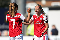 Jordan Nobbs is welcomed back to the Arsenal team after injury by Danielle van de Donk during Arsenal Women vs Tottenham Hotspur Women, Friendly Match Football at Meadow Park on 25th August 2019