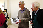 Martin Parr, Homer Sykes, at Photo London 2019, Martin holding a signed copy of My British Archive: The Way We Were 1968-1983, published by Dewi Lewis. Somerset House, The Strand, London, UK. 17.05.19<br />
