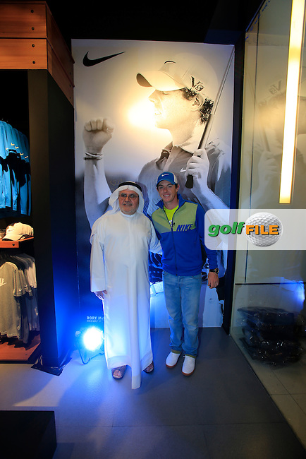 Rory Mcilroy (NIR) opens the new Nike Golf store in Dubai Mall. 27th January 2014.<br /> Picture: Eoin Clarke www.golffile.ie